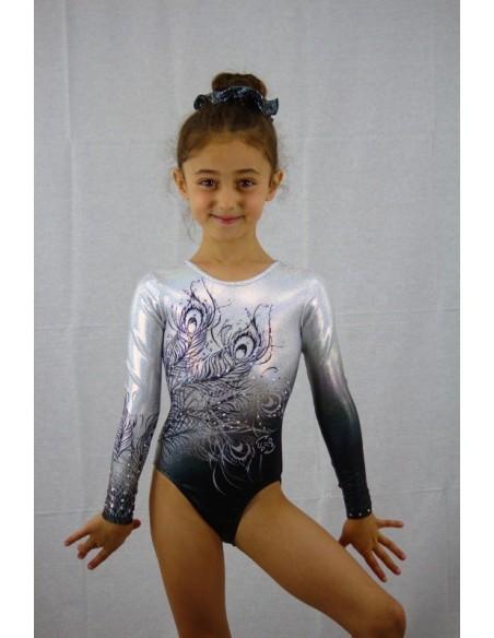 Body femminile da ginnastica artistica modello black india.  versione baby frontale