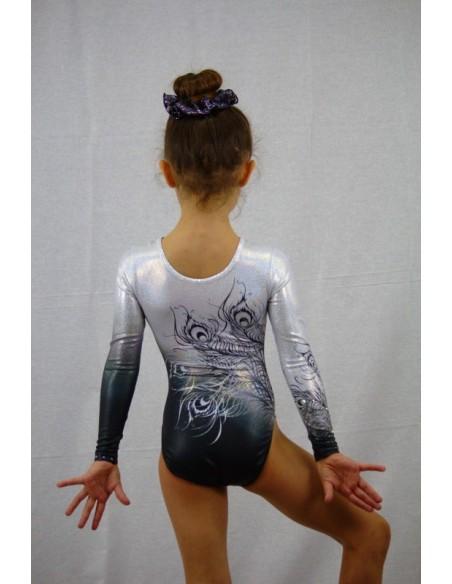 Body femminile da ginnastica artistica modello black india.  versione baby posteriore